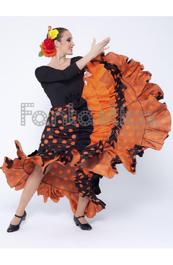 4aab2331e Falda de Flamenca / Sevillana para Mujer con Volantes y Lunares Naranja y  Negro