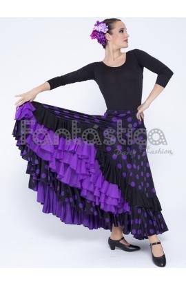 413f1587cd Falda de Flamenca   Sevillana para Mujer con Volantes y Lunares Violeta y  Negro