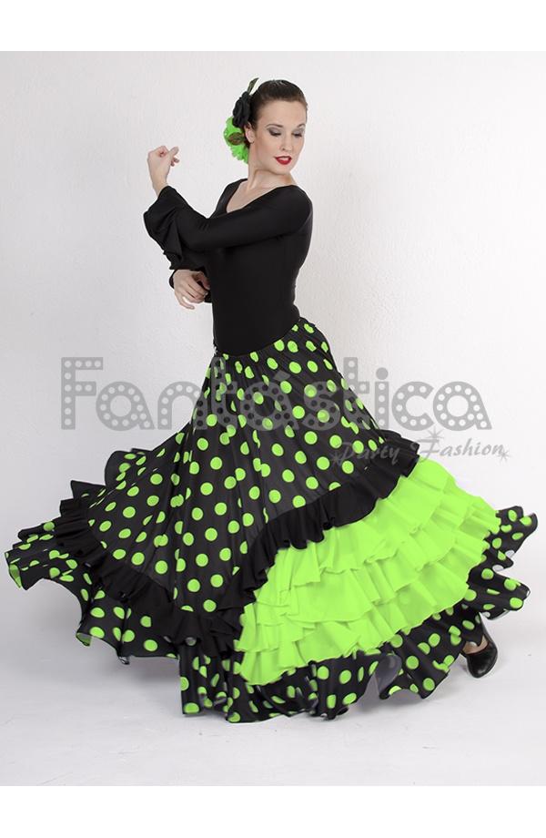 6caa66a8b Falda de Flamenca / Sevillana para Mujer con Volantes y Lunares Verde y  Negro