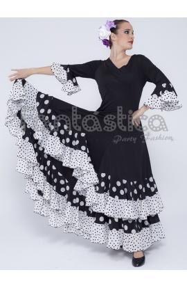 aecbec69c9 Vestido de Flamenca   Sevillana para Mujer Color Negro y Blanco con Lunares  II