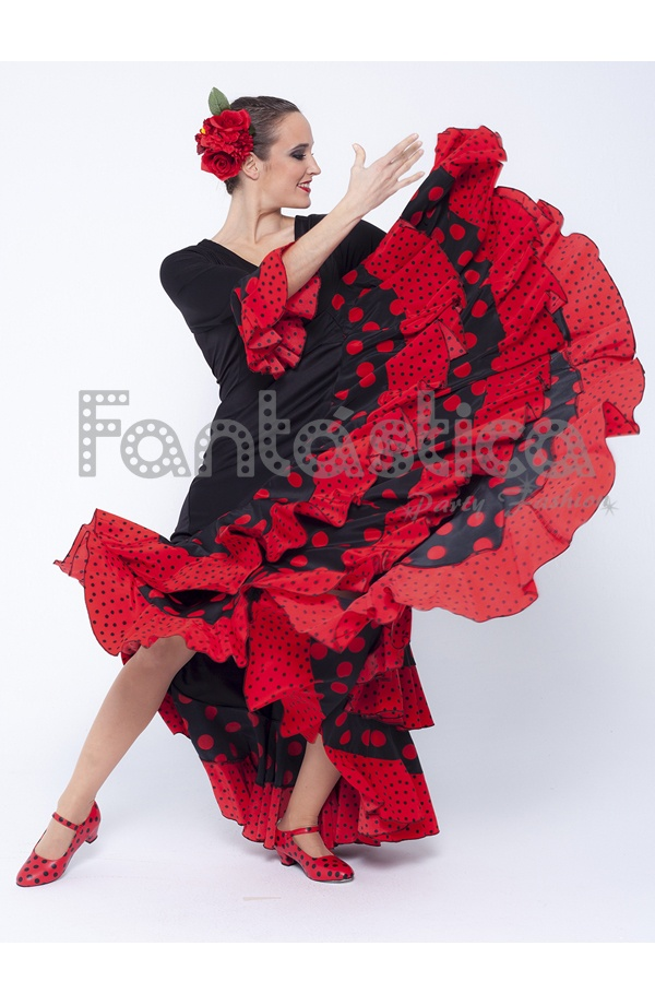 d36fae159 Glamorous Flamenco and Sevillanas Black Dress with Flounces and Red Polka  Dots. This cheap Flamenco dress in black and red with flounces on the skirt  is ...