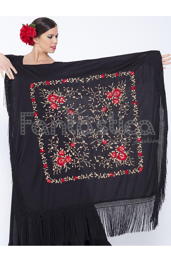 0bc8dee6491dd Espectacular Mantón de Flamenca Cuadrado para Mujer - Mantón de Manila  Cuadrado para Mujer color Negro con Flores rojas y doradas.