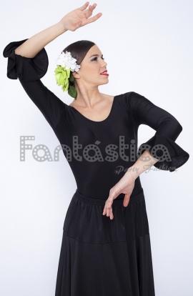 13640424 Precioso Maillot para Mujer, para danza española y flamenco. Mangas con  volantes en color Negro. Leotardo de flamenco y danza española, color  negro, ...