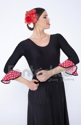 883ca89c Maillot Negro de Flamenca Danza Española para Mujer Mangas con Lunares  Color Coral y.