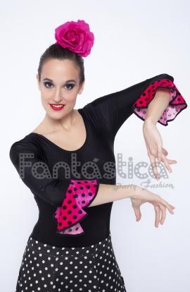 3ccf869d Maillot Negro de Flamenca Danza Española para Mujer Mangas con Lunares  Color Fucsia y.