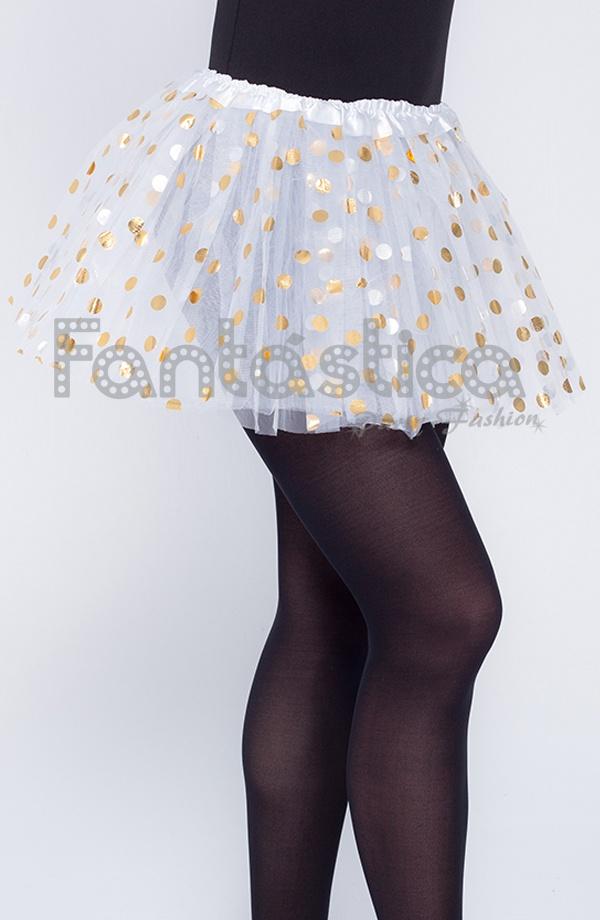 1877f3445 Tutú para Ballet y Danza - Falda de Tul con Lunares para Niña y Mujer Color  Blanco