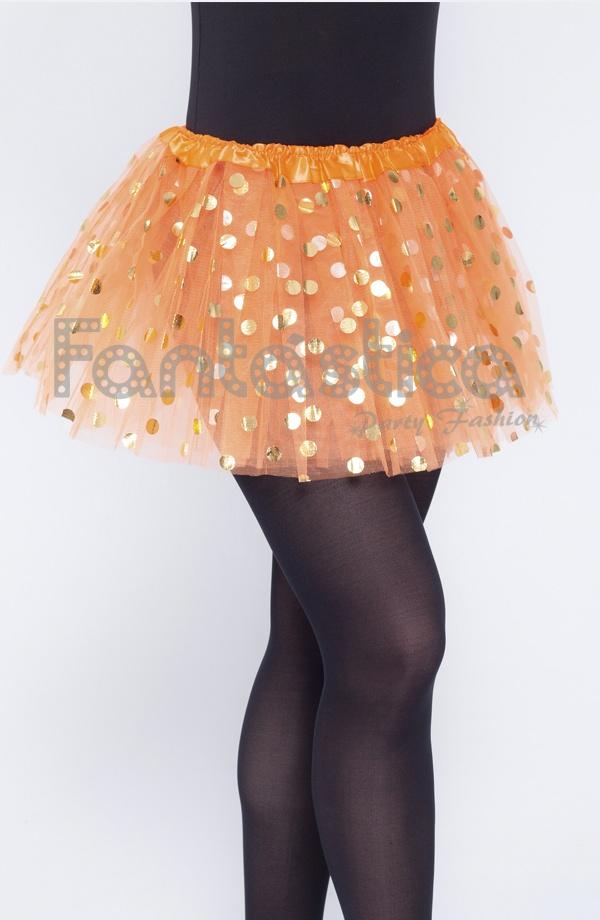 d65740055d Tutú para Niña y Mujer Naranja con Lunares Dorados. Tutú de tul color  naranja ideal para ballet