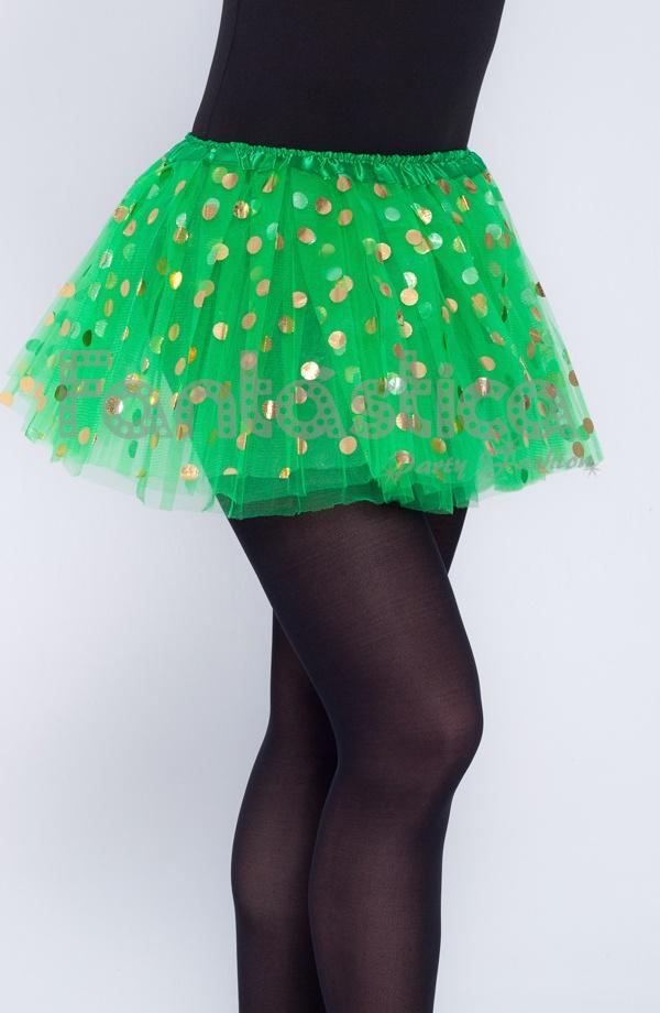 937b0cd2a Tutú para Niña y Mujer Verde con Lunares Dorados. Tutú de tul color verde  esmeralda ideal para ballet