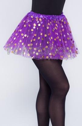 de94a4b29c Tutú para Ballet y Danza - Falda de Tul con Lunares para Niña y Mujer Color  Lila Morado