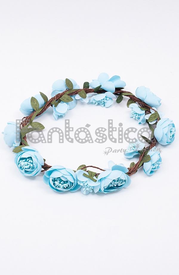 clásico nuevo baratas nueva lanzamiento Corona de Flores Azul Claro para el Pelo - Diadema de Flores para Mujer VII