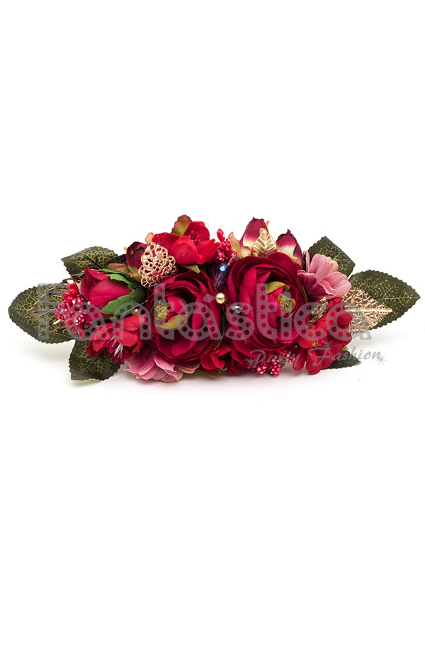 6e81238262e3 Stylish Burgundy Headdress of Flowers, ideal to highlight on your hair with  any hairstyle, or as a decoration for hats. A charming, elegant, and  feminine ...