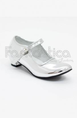 6b8d94e5823 Zapatos Color Plateado Acabado Espejo - Tallas para Niña y Mujer