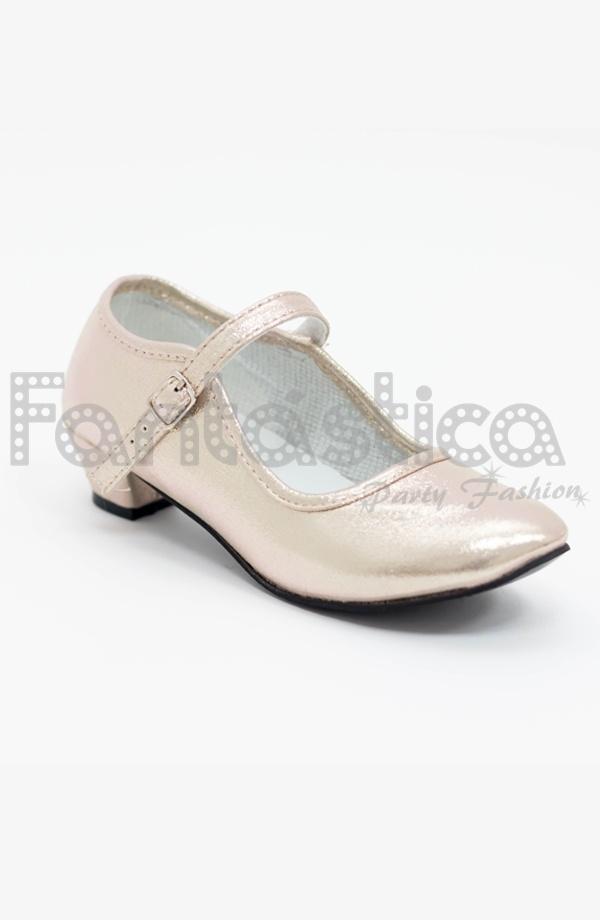 24be78a3 Preciosos Zapatos Color Dorado Acabado Brillo - Tallas para Niña y Mujer.  Complemento ideal para disfraces de Princesa, Andaluza, Sevillana, Gitana,  ...