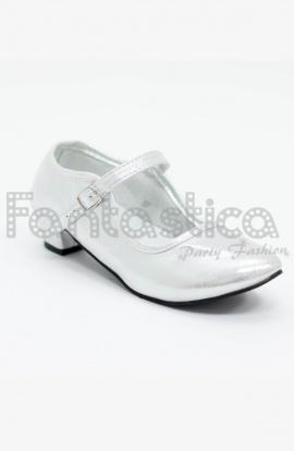 836f22fd Zapatos Color Plateado Acabado Brillo - Tallas para Niña y Mujer