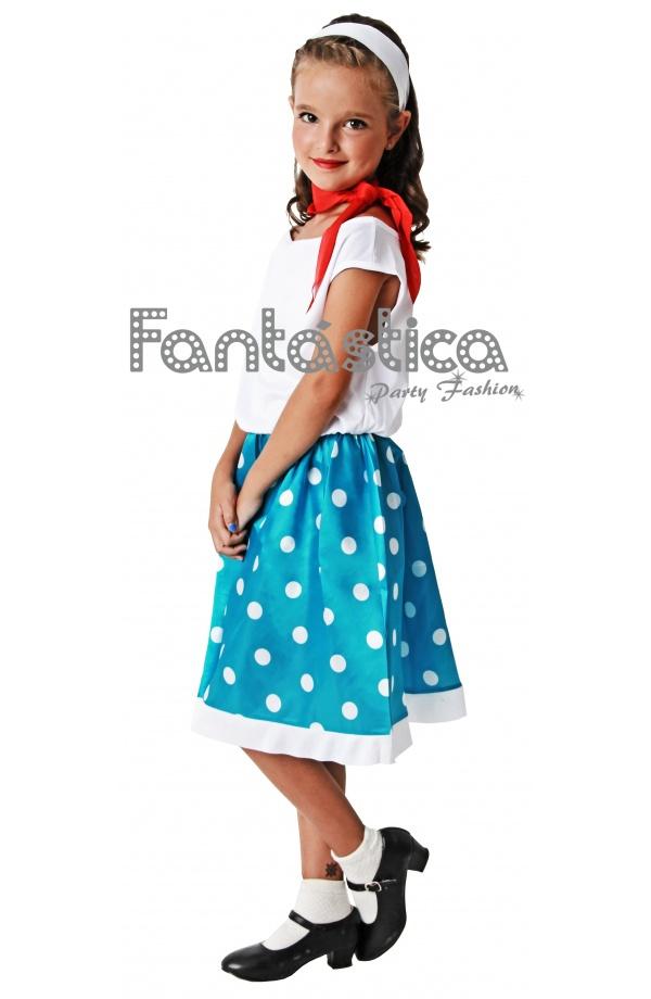 Disfraz para Niña Años 50 II. Bonito disfraz de años 50 para niña ideal  para Carnaval 658f54b2fdd