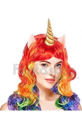 Peluca Arco Iris para Disfraz de Unicornio Multicolor d94eb7e8a60e