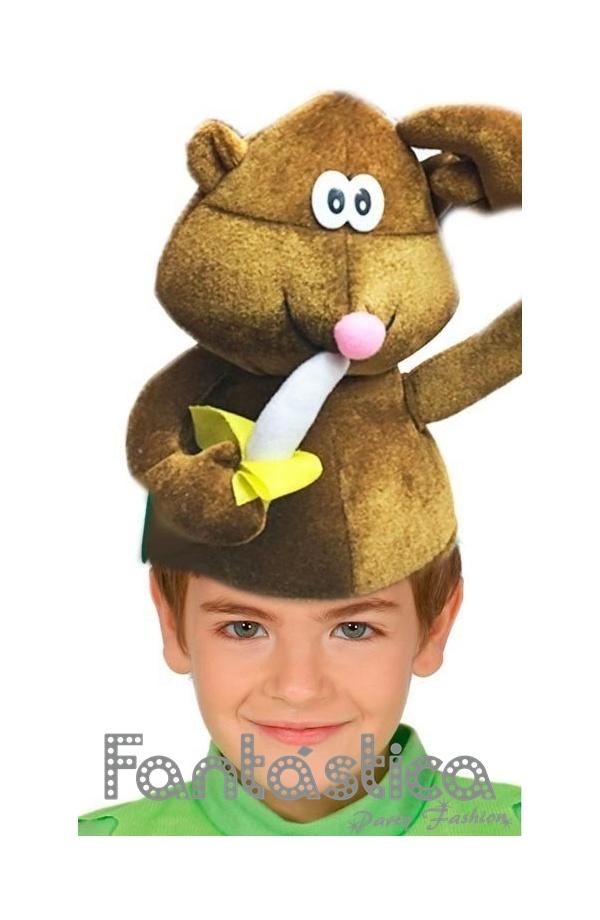 Chulísimo y divertido Gorro para Disfraz de Mono con Plátano. Simpático  sombrero de Mono con Plátano ca587991a6a