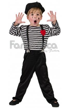 56bd1e831 Precioso y adorable Disfraz para Niño de Mimo, perfecto para Carnaval,  Halloween, fiestas de disfraces, actos escolares, ferias, espectáculos, ...