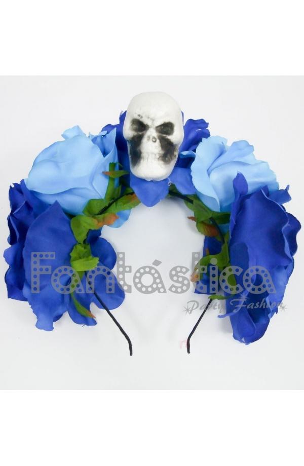 buscar comprar original hombre Diadema de Halloween para Disfraz Catrina con Flores Azules