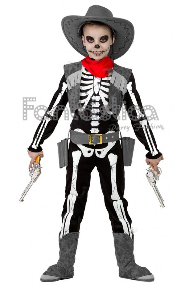Disfraz para Niño Vaquero Esqueleto. Espeluznante disfraz de esqueleto vaquero  infantil que incluye un mono 95d467fd410