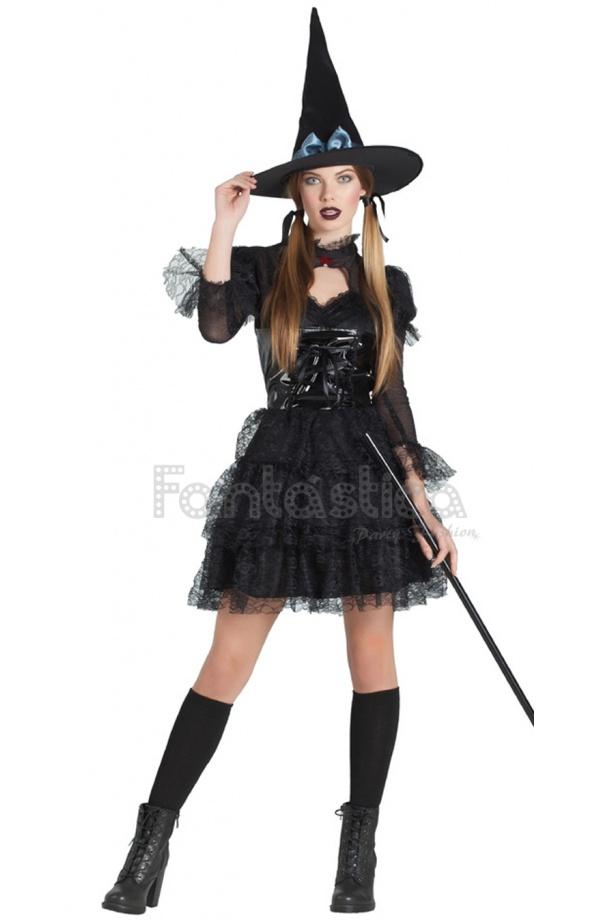9fa4c9c3a63b Alucinante disfraz para mujer de Bruja Lolita Gótica perfecto para dejar a  todos hechizados en tu fiesta de Halloween