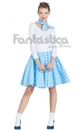 Disfraz Para Mujer Falda Y Pañuelo Azul Años 50