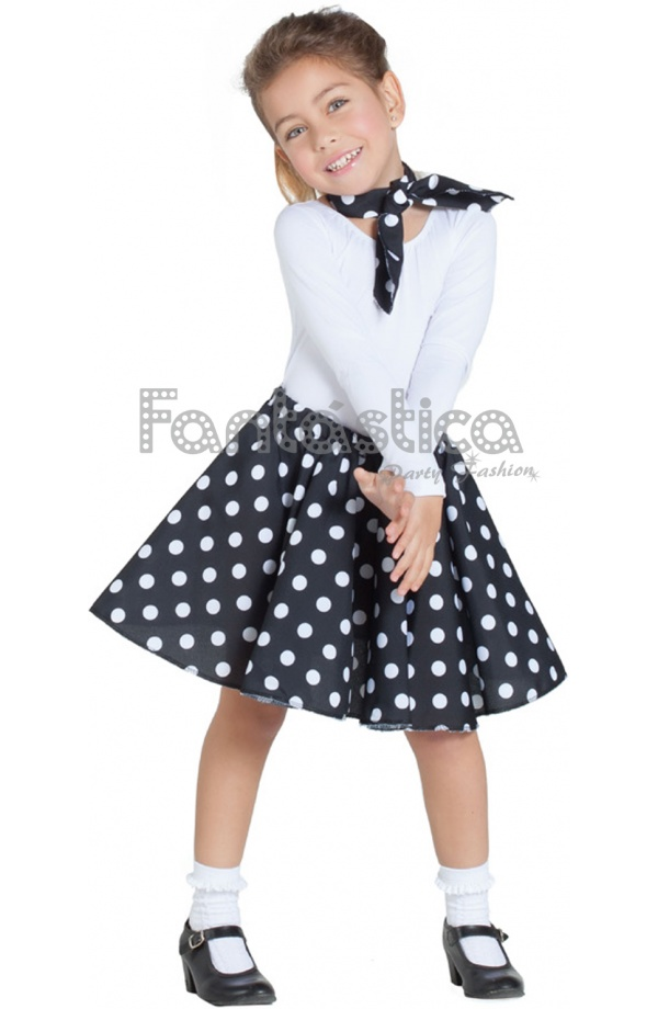 Y Niña Negro Disfraz Pañuelo Falda 50 Años Para 5HwqSt