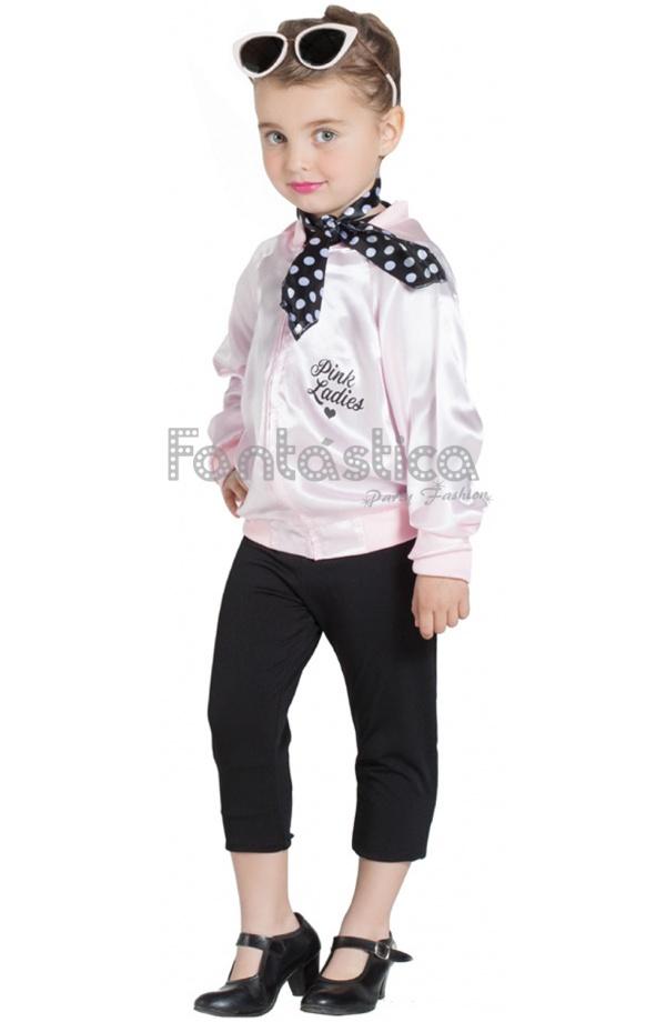 Preciosa Chaqueta para Niña Pink Lady. Un disfraz para niña que incluye  chaqueta y pañuelo 734c61a62f3d0