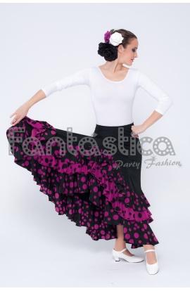 4c04a1cc0 Falda de Flamenca / Sevillana para Mujer con Volantes Color Negro Lunares  Magenta