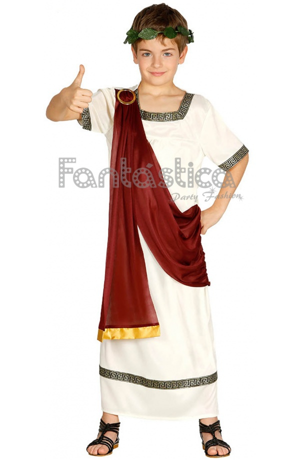 cb092b0358 Fabuloso Disfraz para Niño de Romano que se compone de túnica con capa. Un  disfraz infantil perfecto para Carnaval