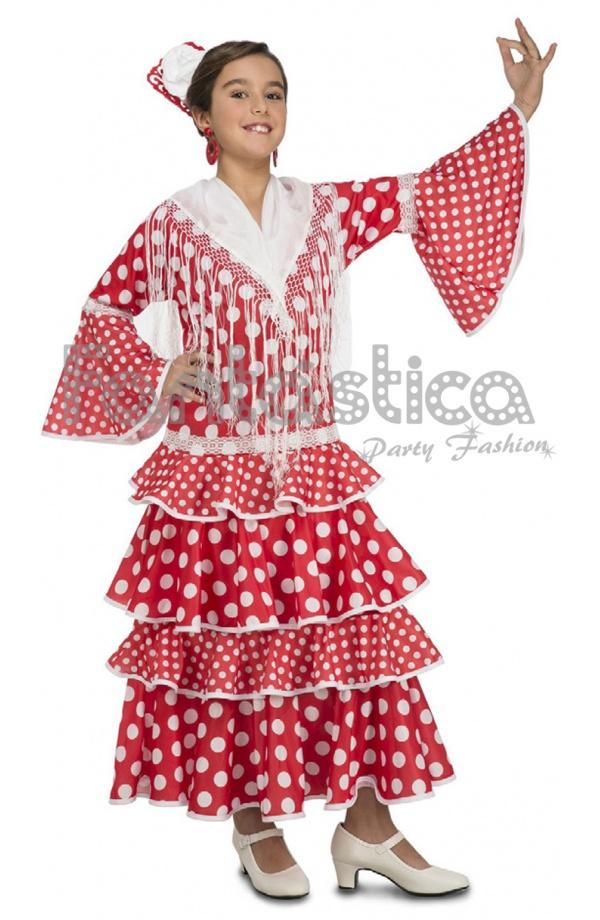 fb5a0ba6f Disfraz para Niña Bailaora de Flamenco y Sevillanas Rojo