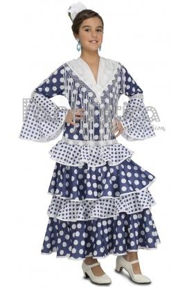 bf38e4de3f Disfraz para Niña Bailaora de Flamenco y Sevillanas Azul y Blanco