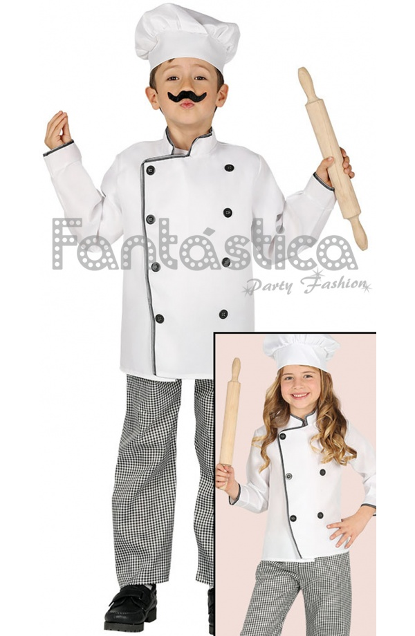 1b5f895db27 Disfraz para Niño y Niña de Cocinero Chef. Simpático y original disfraz de  infantil de cocinero que incluye gorro, chaqueta y pantalón.