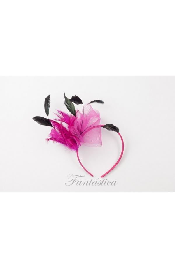 Fabulosa diadema de fiesta con tupido tocado de plumas y cinta 10215b4a2c60