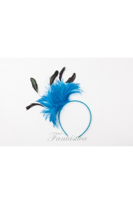 Fabulosa diadema de fiesta con tupido tocado de plumas bicolores en  turquesa y negro. Un accesorio perfecto para adornar tu cabello de forma  cómoda bf441e651f9b