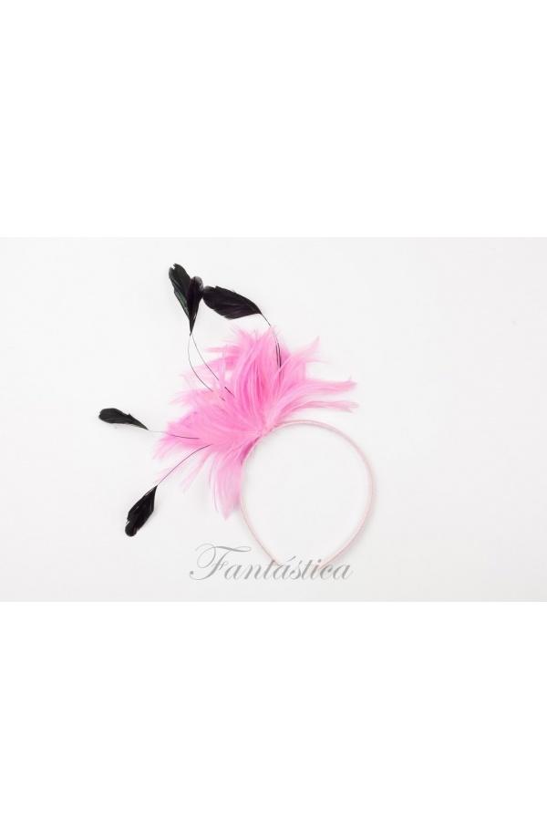 Preciosa diadema de fiesta con tupido tocado de plumas bicolores en rosa y  negro. Un accesorio perfecto para adornar tu cabello de forma cómoda 1b957793198