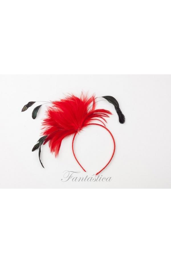 Diadema con Tocado de Plumas para Mujer Color Rojo II 033f12a64c33