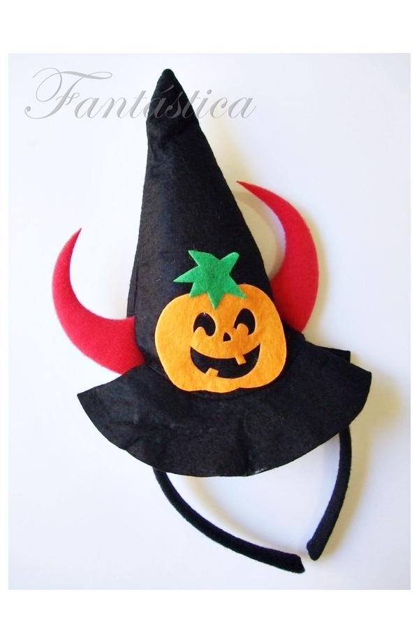 Diadema Sombrero de Bruja de Halloween con Calabaza y Cuernitos de ... 5344bcd8868