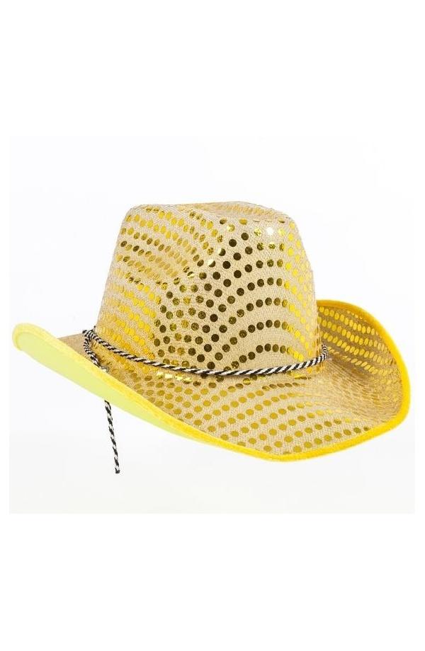 5ce8c1d510a99 Sombrero Vaquero para Disfraz de Cowboy Estampado Lentejuelas Amarillas