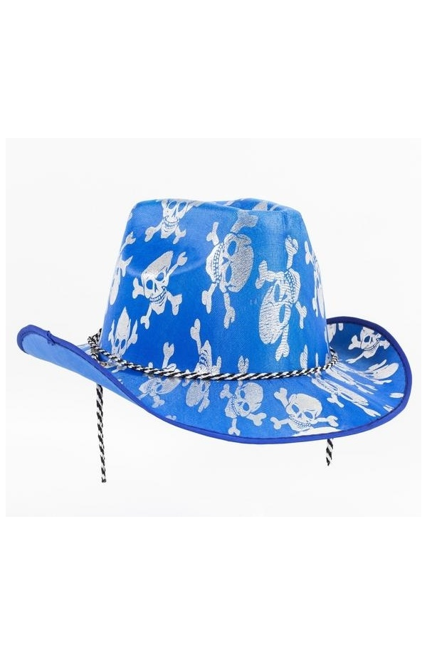 1d804cb49d990 Fenomenal Sombrero Vaquero para Disfraz de Cowboy en color azul con  estampado de calaveras en blanco. Perfecto para completar tu disfraz de  Carnaval