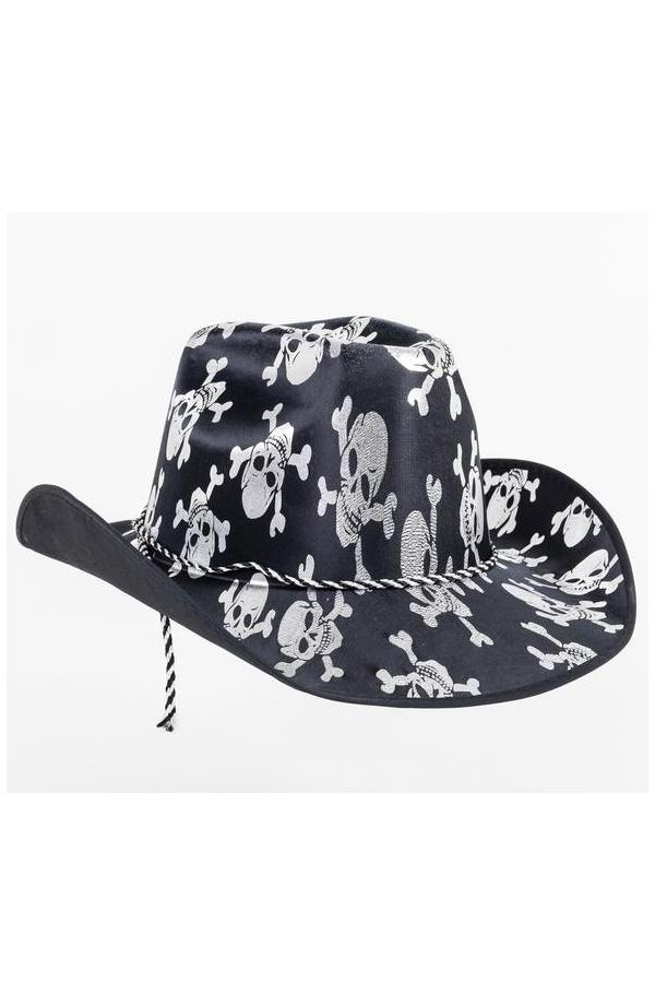 Espectacular Sombrero Vaquero para Disfraz de Cowboy en color negro con  estampado de calaveras en blanco. Perfecto para completar tu disfraz de  Carnaval 474c7839c87