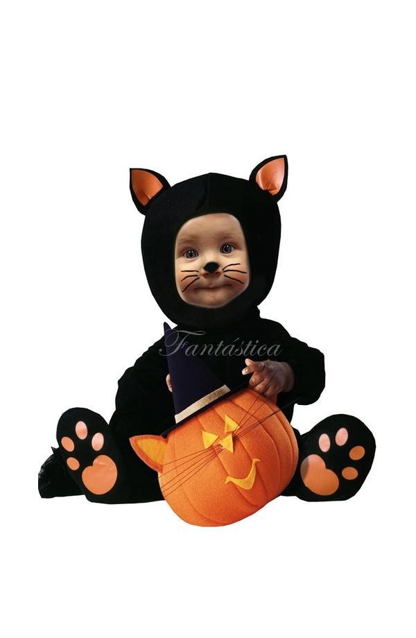 Disfraz para Bebé y Niño Gato Negro. Monísimo disfraz de gato negro que  incluye un precioso mono negro con huellitas del gato y una adorable cola d0340902c76