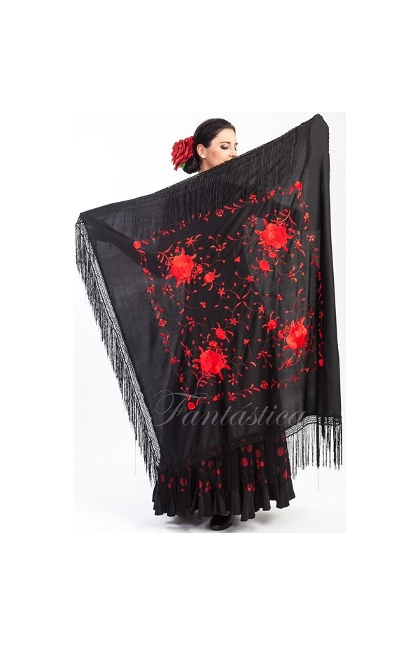 0e84de0d9b179 Espectacular Mantón de Flamenca Cuadrado para Mujer - Mantón de Manila  Cuadrado para Mujer con Flores Color Rojo y Negro. Fabuloso Mantón Flamenco  color ...