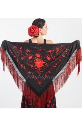 15bc18b82a183 ... Mantón de Manila Cuadrado para Mujer con Flores Rojo y Negro II. .  Previous Next