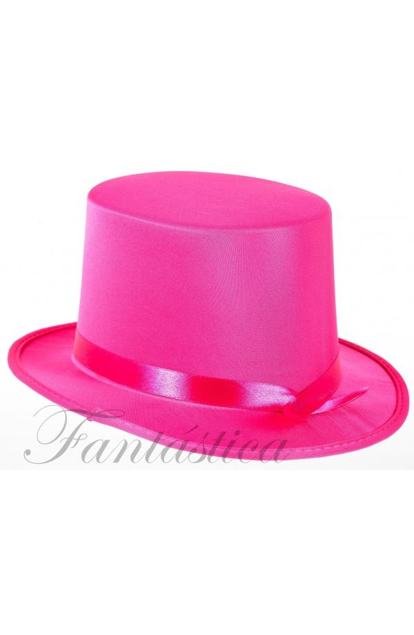 Sombrero de Copa para Fiesta o Disfraz con Cinta Color Fucsia 8a25f856a0d7