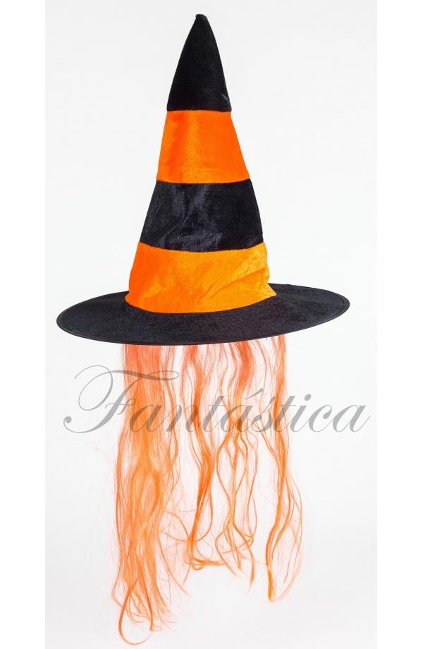 Precioso Sombrero de Bruja de Halloween con Pelo Color Naranja. Ideal para  pasar una noche de pánico 2f0af23f13c