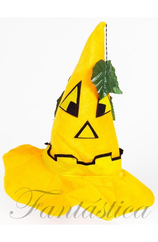 Guapísimo Sombrero de Bruja de Halloween con motivo de Calabaza Halloween  en color amarillo. Ideal para pasar una noche de pánico 76ac81498a6