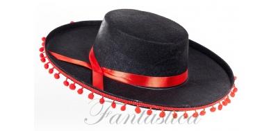 Sombrero Cordobés para Disfraz de Andaluz Color Negro Pompones Rojos e95bc84ea7b