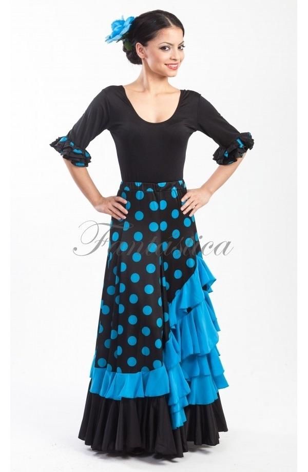 nueva estilos 84c73 c7d41 Falda de Flamenca / Sevillana para Mujer con Volantes y Lunares Azul y Negro