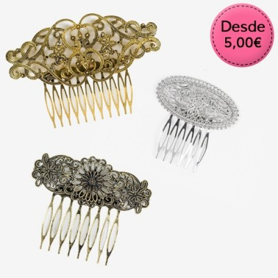Silver, Gold and Bronze Flamenco Vintage Hair Combs